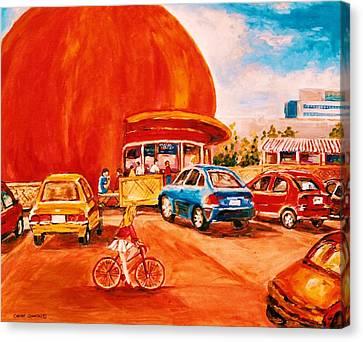 Biking Past The Orange Julep Canvas Print by Carole Spandau