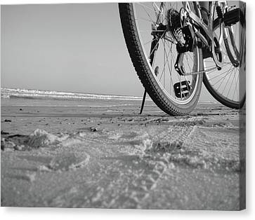 Biking To The Beach Canvas Print