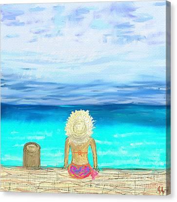 Bikini On The Pier Canvas Print