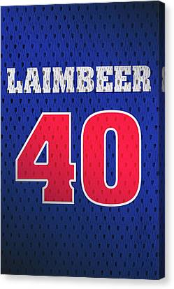 Bill Laimbeer Detroit Pistons Number 40 Retro Vintage Jersey Closeup Graphic Design Canvas Print