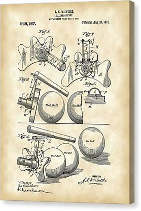 Billiard Bridge Patent 1910 - Vintage Canvas Print