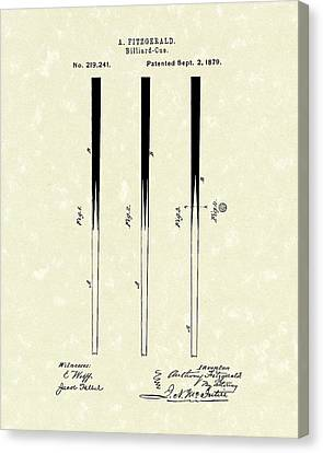 Billiard Cue 1879 Patent Art Canvas Print by Prior Art Design