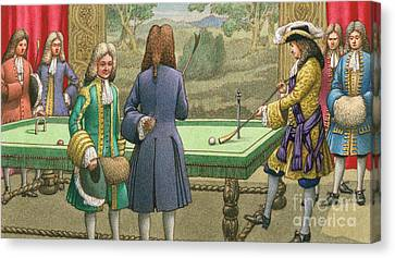 Billiards, As Played By Louis Xiv At Versailles Canvas Print by Pat Nicolle