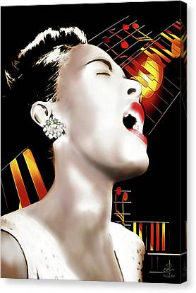 Canvas Print featuring the digital art Billie Holiday by Pennie McCracken
