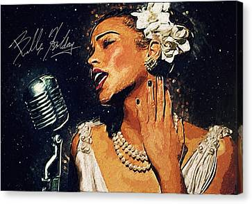 Rhythm And Blues Canvas Print - Billie Holiday by Taylan Apukovska