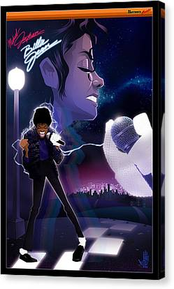 Canvas Print featuring the drawing Billie Jean 2 by Nelson dedos Garcia
