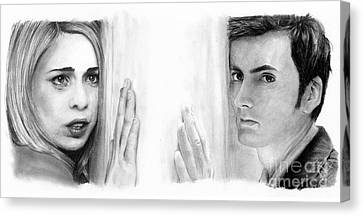 Doctor Who Canvas Print - Billie Piper And David Tennant by Rosalinda Markle