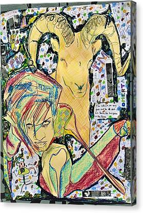 Different Stuff Canvas Print - Billy Goat N Fae by Teresa Omerta Moll-Arruza