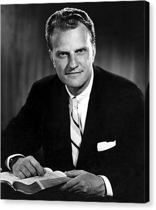 Billy Graham . Evangelist With Bible Canvas Print by Everett