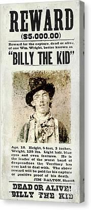Reward Canvas Print - Billy The Kid Wanted Poster by Jon Neidert
