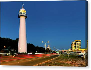 Canvas Print featuring the photograph Biloxi Lighthouse At Dusk - Mississippi - Gulf Coast by Jason Politte