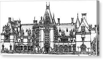 Biltmore House In Asheville  Canvas Print by Adendorff Design