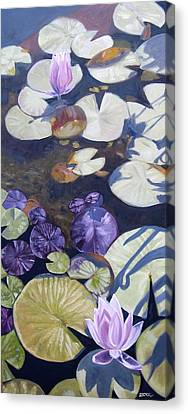 Canvas Print featuring the painting Biltmore Lilypads by Robert Decker