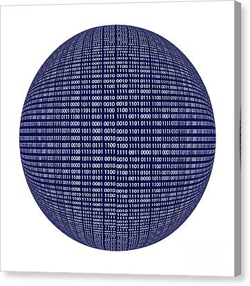 Cryptic Canvas Print - Binary Code Sphere Isolated Over White Background by Dani Prints and Images