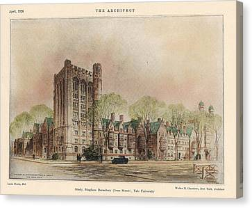 Bingham Dormitory. Yale University. New Haven Connecticut 1926 Canvas Print by Walter Chambers