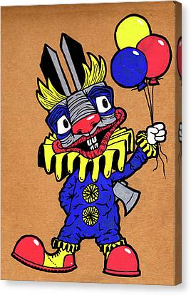 Binky The Bunny Clown Canvas Print by Bizarre Bunny