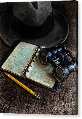 Binoculars Fedora And Notebook Canvas Print by Jill Battaglia