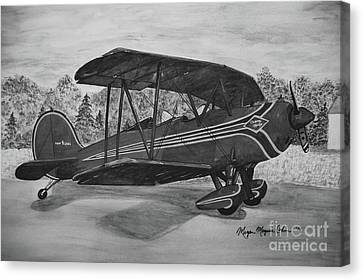 Biplane In Black And White Canvas Print