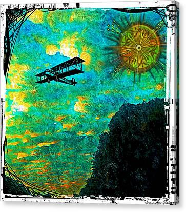 Canvas Print featuring the digital art Biplane by Iowan Stone-Flowers