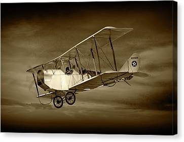 Biplane With Cloudy Sky In Sepia Tone Canvas Print