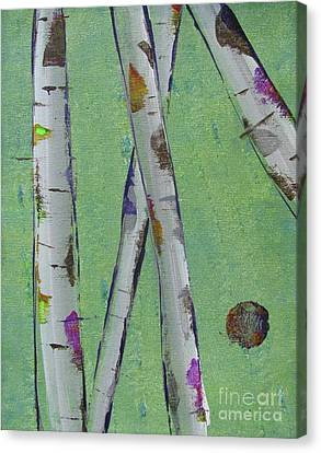 Silver Moonlight Canvas Print - Birch - Lt. Green 2 by Jacqueline Athmann
