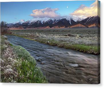 Birch Creek Sunrise Canvas Print by Leland D Howard