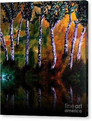 Birch Forest Reflections Canvas Print by Ayasha Loya