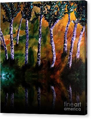 Birch Forest Reflections Canvas Print by Ayasha Loya