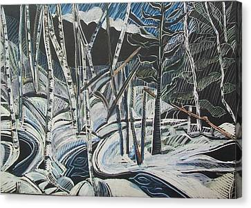 Birch Forest, Winter Canvas Print by Grace Keown