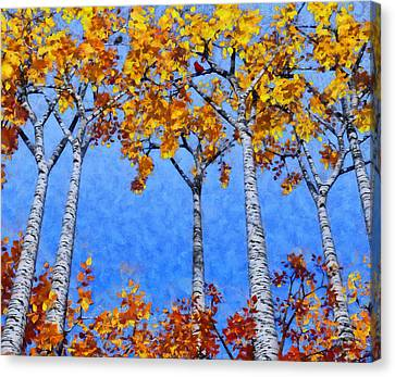 Birch Grove Painted Canvas Print