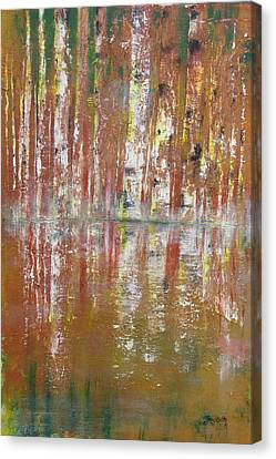 Canvas Print featuring the painting Birch In Abstract by Gary Smith