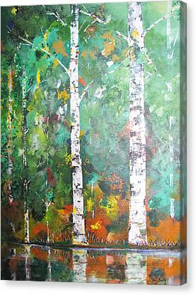 Canvas Print featuring the painting Birch In Color by Gary Smith