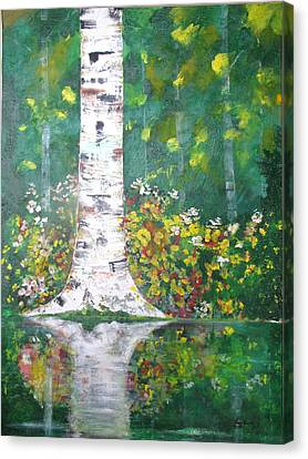 Canvas Print featuring the  Birch In Flowers by Gary Smith