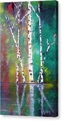 Canvas Print featuring the painting Birch On Bank by Gary Smith