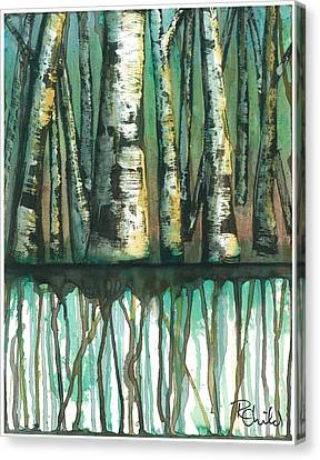 Birch Trees #5 Canvas Print by Rebecca Childs