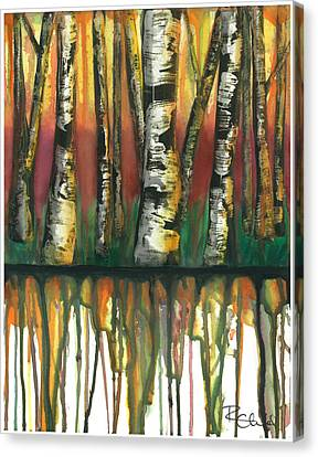 Birch Trees #6 Canvas Print by Rebecca Childs