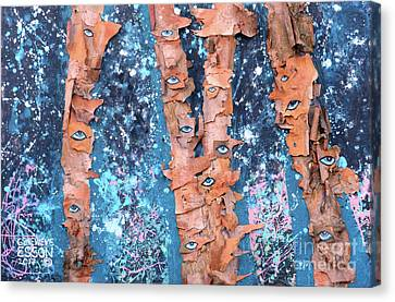 Birch Trees With Eyes Canvas Print by Genevieve Esson