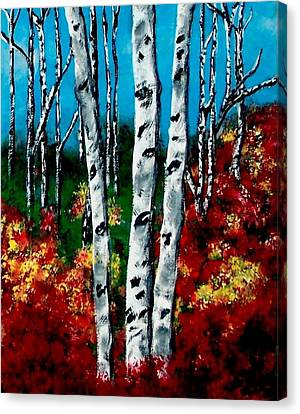 Canvas Print featuring the painting Birch Woods 2 by Sonya Nancy Capling-Bacle
