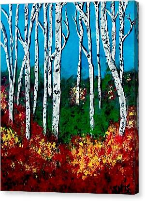 Canvas Print featuring the painting Birch Woods by Sonya Nancy Capling-Bacle