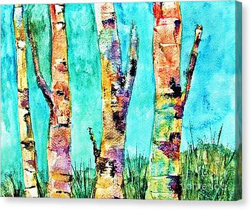 Watercolor Painting Of Birched Trees  Canvas Print