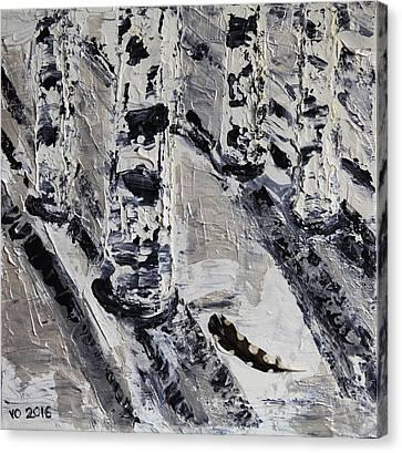Birches And Snowy Shadows Canvas Print by Valerie Ornstein