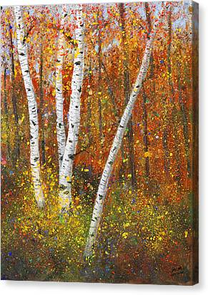 Birches Canvas Print by Garry McMichael