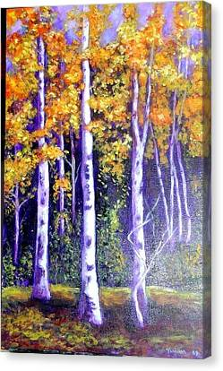 Birches In Canadian Fall Canvas Print by Marie-Line Vasseur