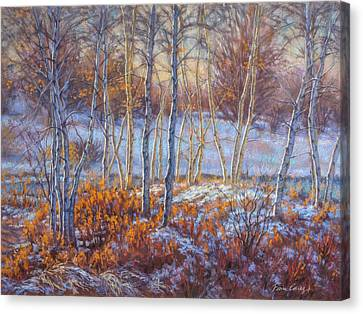 Birches In First Snow Canvas Print by Fiona Craig