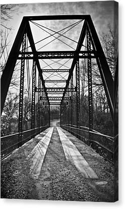 Bird Bridge Black And White Canvas Print