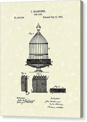 Bird Cage 1882 Patent Art Canvas Print by Prior Art Design