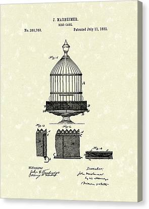 Bird Cage 1882 Patent Art Canvas Print by Prior Art Design