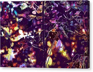 Canvas Print featuring the digital art Bird Chickadee Black  by PixBreak Art