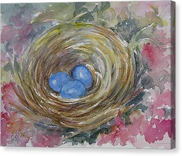 Bird Eggs In Nest Canvas Print