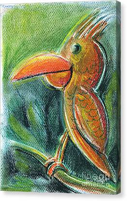 Bird For Children Pastel Chalk Drawing Canvas Print by Frank Ramspott